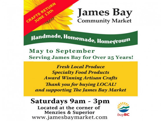 James Bay Community Market – June 13th – 9 am to 3 pm