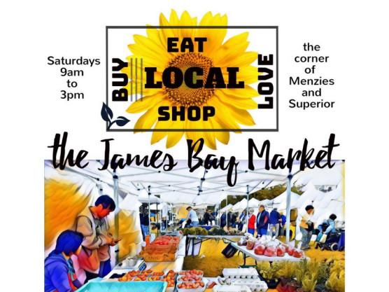 Meet us at the James Bay Market Saturdays – May 4th through Sept. 28th
