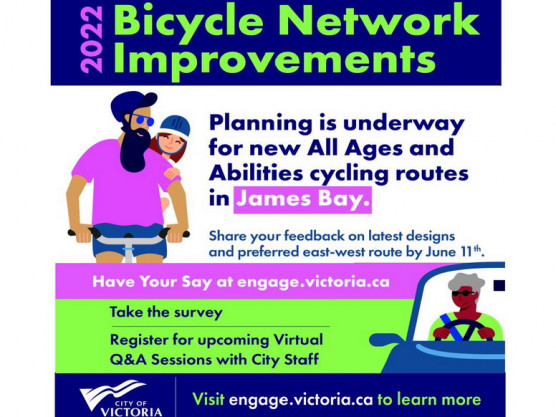 James Bay Cycling Routes – Information at the James Bay Community Market – June 5th